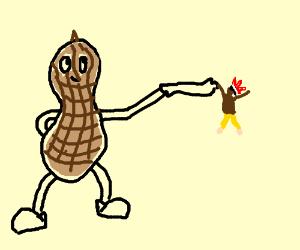 Peanut throws a Native American