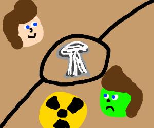 Nuclear Mushroom Cloud Very Radioactive On Man