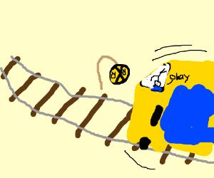 Upside-down railroad sign