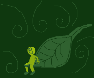 A little green man on a green leaf.