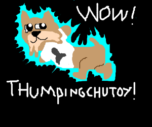 Doge flying in space and it saysThumpingChutoy