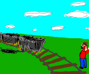 oh no, the train is running upside down!