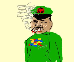 Kim Jong-un sucks in four cigarettes