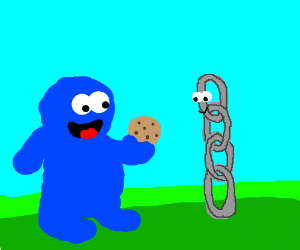 Cookie Monster offers cookie to Link
