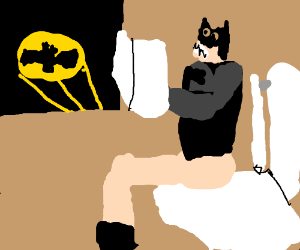 Batman likes to read the newspaper on the loo
