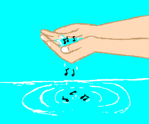 The music notes fall from my hands into water.