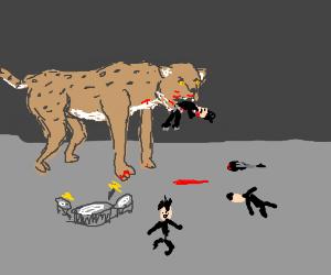 Giant cheetah eats punk rock band