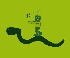 Ohh its a snake. I shall dance on it.
