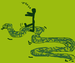 sleepwalk riding upon a giant snake