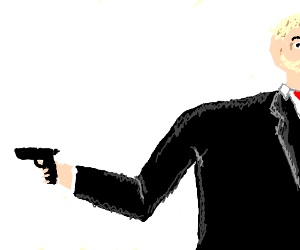 Man in black suit holding a gun