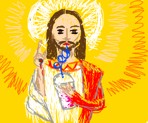 Jesus drinks a smoothie