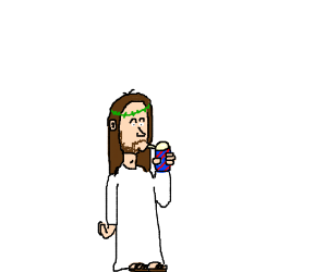 Jesus drinks a slurpee.
