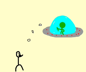 Alien throws sugar cubes at people