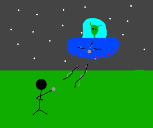 stick men trowing Stones to an UFO