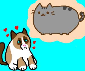 Grumpy Cat has a crush on Pusheen