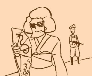 Secret agent disguised as Japanese Edo woman.