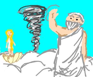 Zeus makes a tornado to please Aphrodite