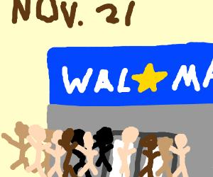 Customers crowding Walmart on Nov 21st