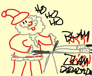 Santa With HUGE double gatling gun