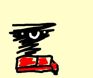 Black tornado sits on red sofa.