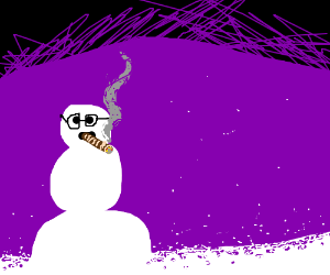 snowman smokes fat cigar and wears specs