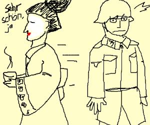 Geisha-man walks past an SS soldier.