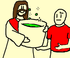 Jesus giving a pot of POP to a red shirt guy