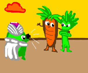 Pickle-oh flashes Veggie-tah and ka-carrot