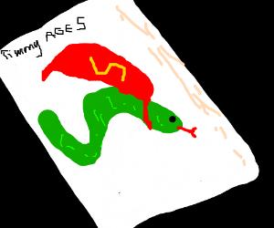 Kid draws new hero, Super Snake