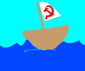 Communist in a boat
