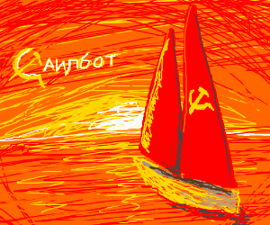Soviet socialist sailboat sails the sea
