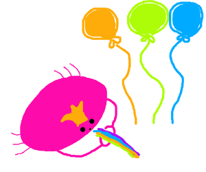 Crabking w/ colourful balloons & spits rainbow