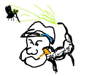 Popeye as a scorpion VS an alien fly