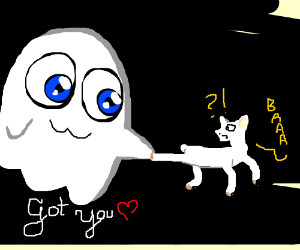 Cute Ghost catching confused little lamb. baaa
