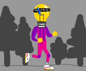 Light bulb in tracksuit with bandana