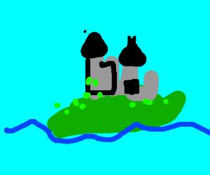 Castle on stranded island