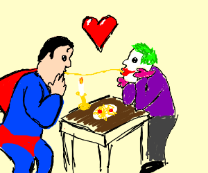 Superman and Joker's candlelight date