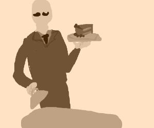 Butler serves posh lady a cake