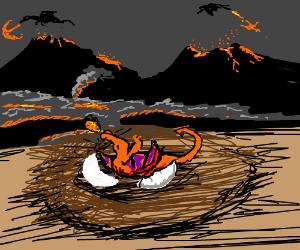 A fire breathing dragon is born