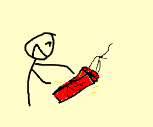 A man is tickling dynamite.