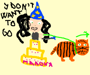 Garfield bringing a witch from Madoka Cake