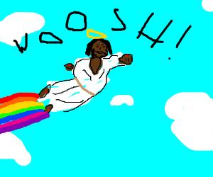 jesus flying like superman