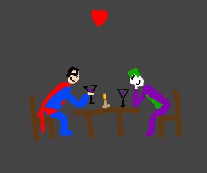 Superman and the Joker romantic dinner