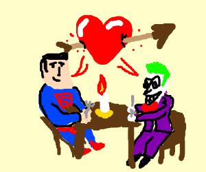 Superman and Joker in a romantic dinner