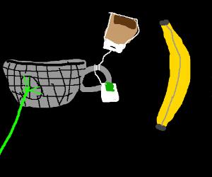 Death Star teacup attacks banana with teabag