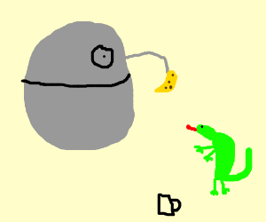 Gecko gets banana to drink from the Death Star