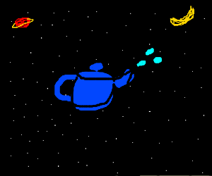 Cosmic teapot spurts water