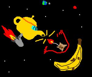 Teapot spaceship fires tea missiles at banana