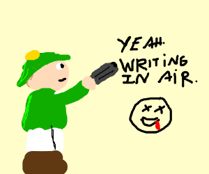 Guy drawing anything in the air