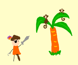 Pirate points to monkeys on a palm tree.